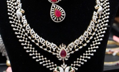 latest diamond jewellery designs haram and necklace set
