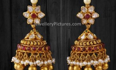 flat diamond studded latest jhumka designs
