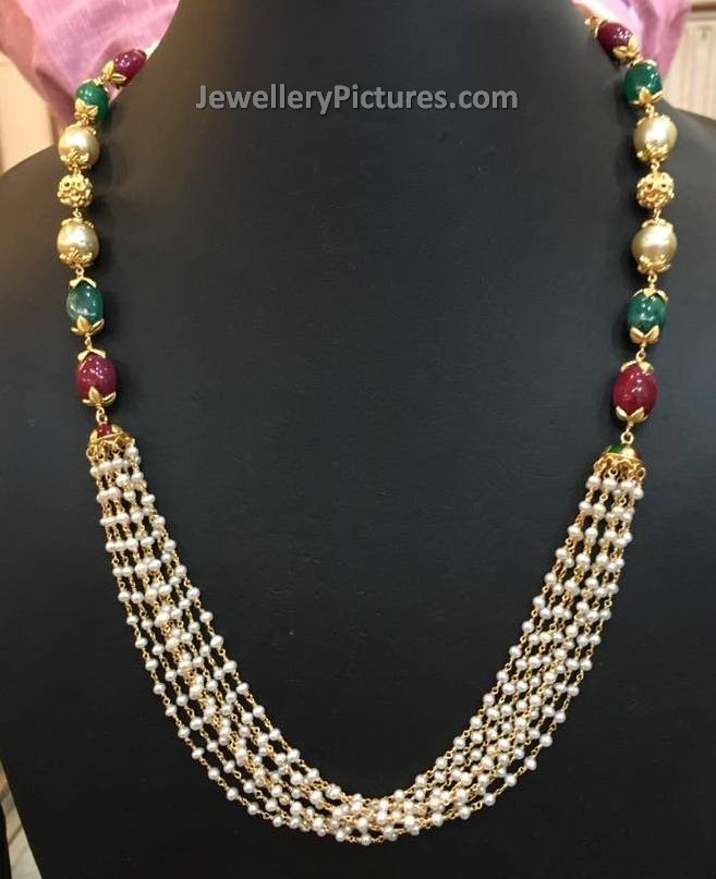 Pearl Gold Necklace Designs Jewellery Designs