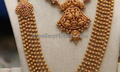 south indian antique gold jewellery designs gundla mala and necklace with earrings