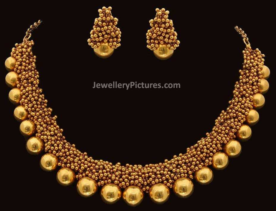 Gold Necklace Designs with Beads - Jewellery Designs