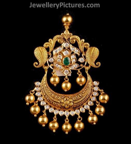 Antique 3d lakshmi temple pendant jewellery designs ganesha pendants studded with flat diamonds antique gold pendants mozeypictures Choice Image