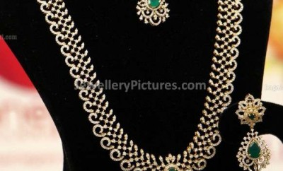 indian diamond jewellery designs necklace and long chain with earrings