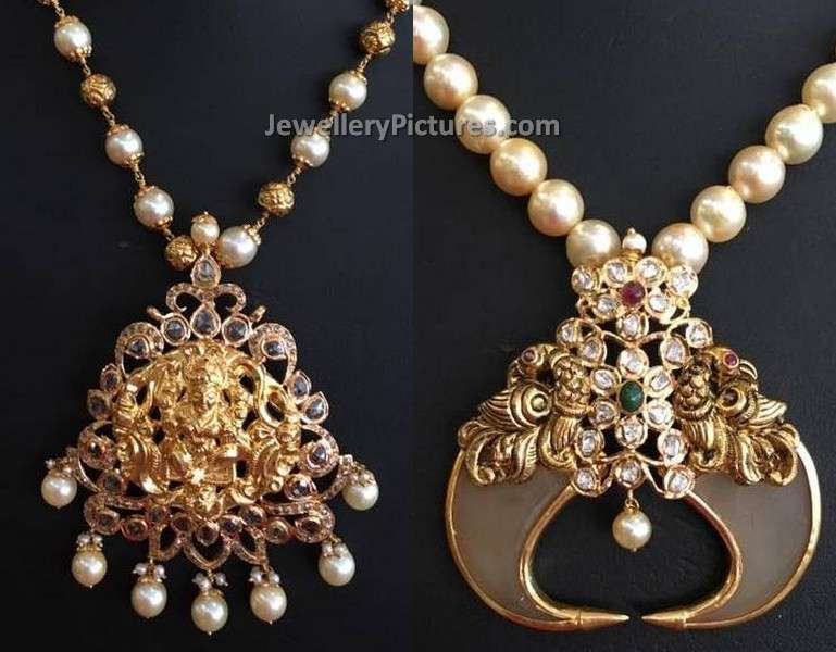 Indian pearl gold jewellery designs jewellery designs antique pendants and pearl necklace aloadofball Gallery