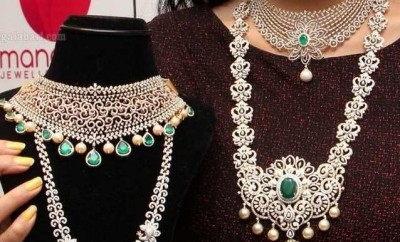 latest diamond necklace designs from manepally