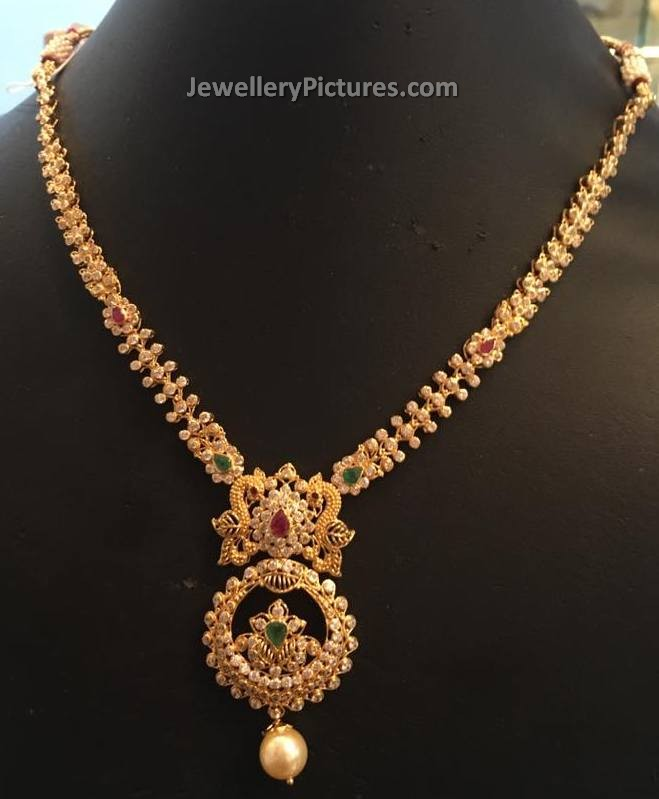 weighted necklaces svtm necklace a indian lakshmi light ruby gold online set haram jewellery