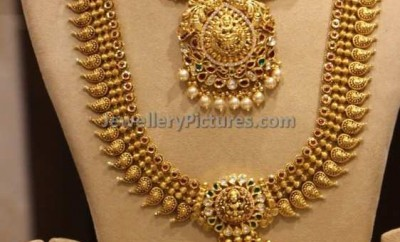 south indian bridal jewellery design mango haram necklace