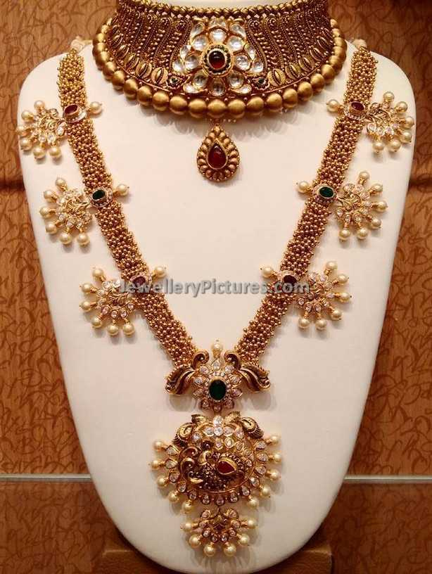 Indian Gold Designs Haram and Earrings - Jewellery Designs