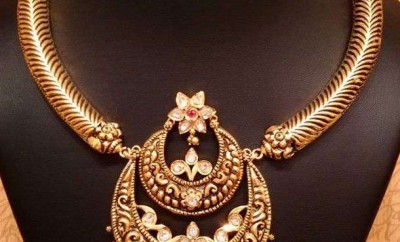 double chandbali pendant traditional gold jewellery designs