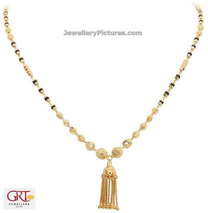 Black Beads Gold Chain Designs Grt Jewellery Designs