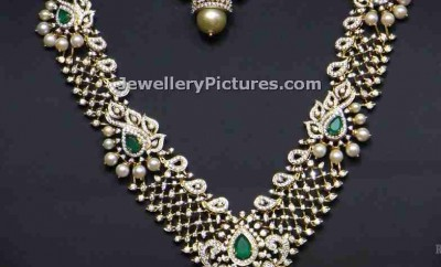 diamond haram sets necklace longchain and earrings