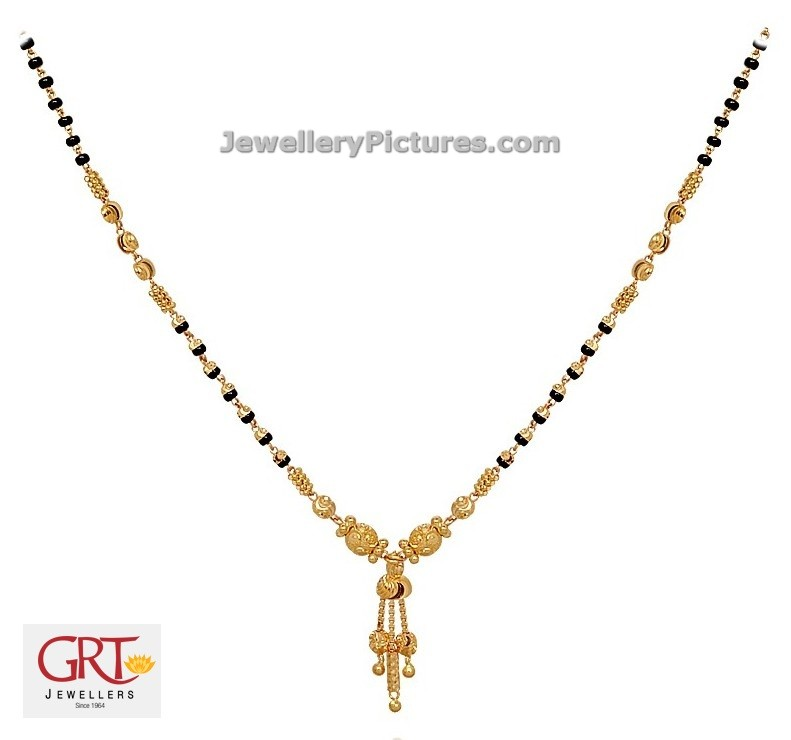 Black Beads Gold Chain Designs GRT - Jewellery Designs