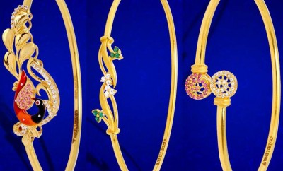 bracelet design for ladies in gold and uncuts jewellery