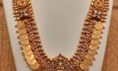 long kasu mala designs with ruby antique pendant