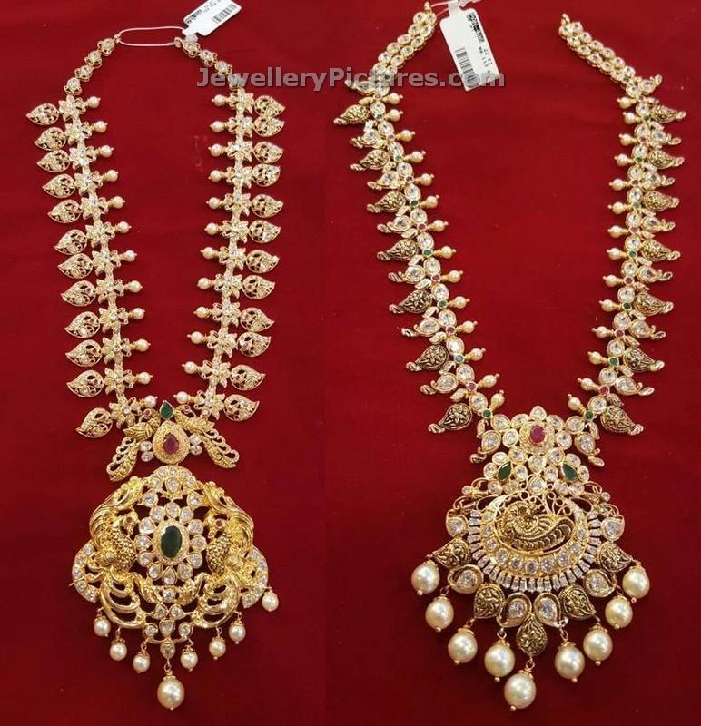 Mango Necklace Pearls and Uncut Diamonds - Jewellery Designs