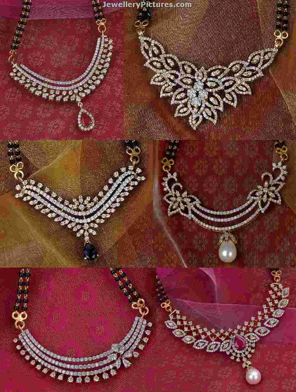 Diamond pendants for nallapusalu chains jewellery designs nallapusalu diamond pendants mozeypictures Images