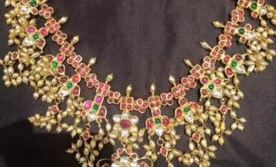 pearls guttapusalu necklace designs with golden pearls