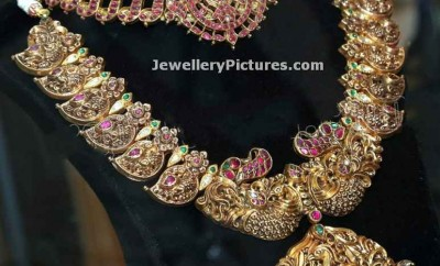 temple jewellery mango mala design with antique necklace