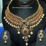 Uncut Diamond Necklace with Pearls