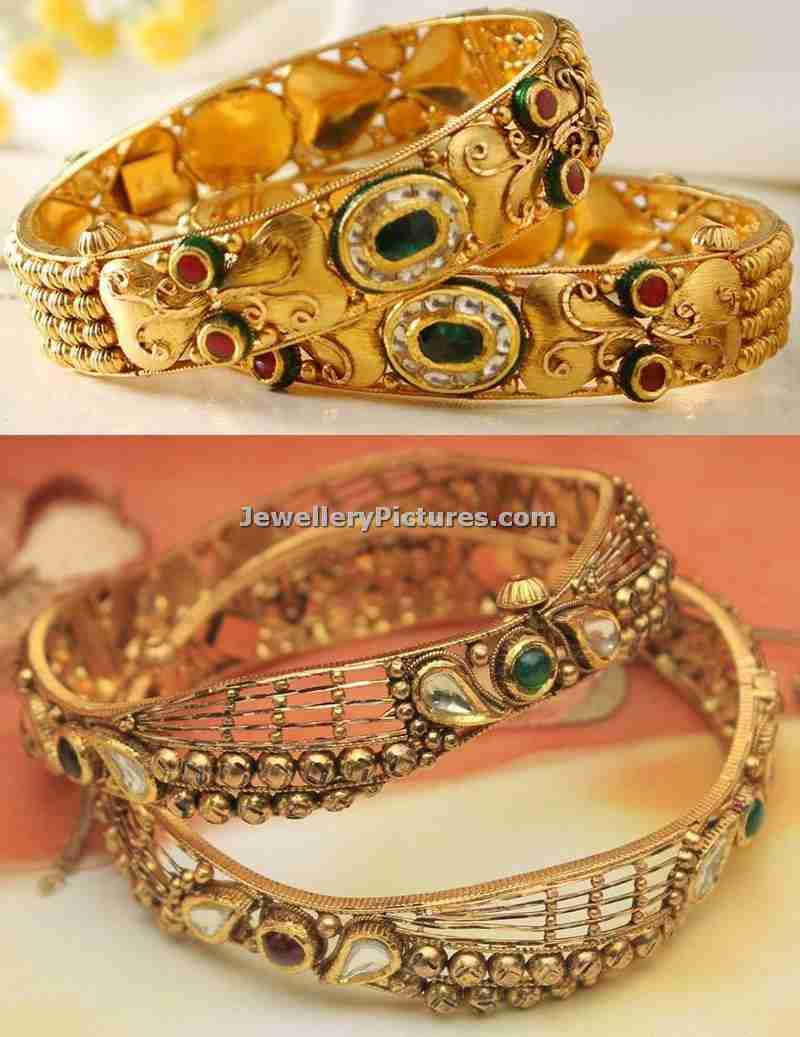 6 Gold Antique Bangles Designs from Manubhai - Jewellery Designs