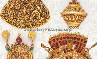 nakshi work gold pendants with krishna design