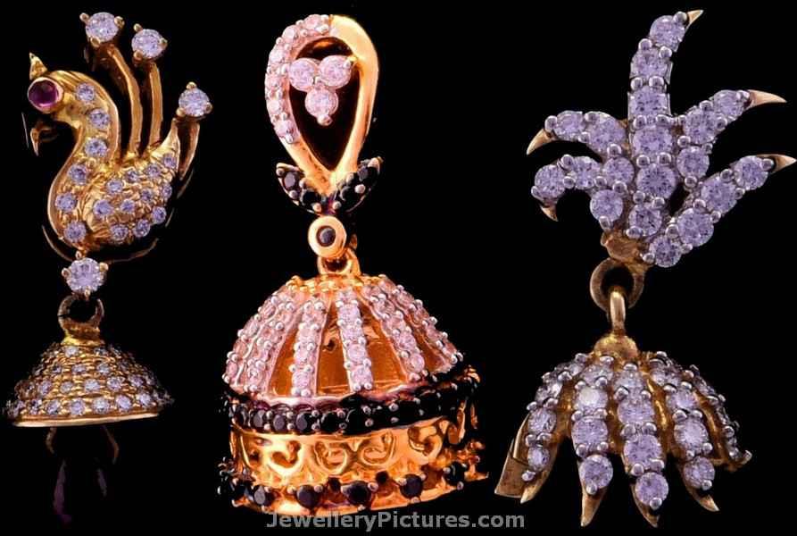 Diamond Jhumka Earrings - Jewellery Designs
