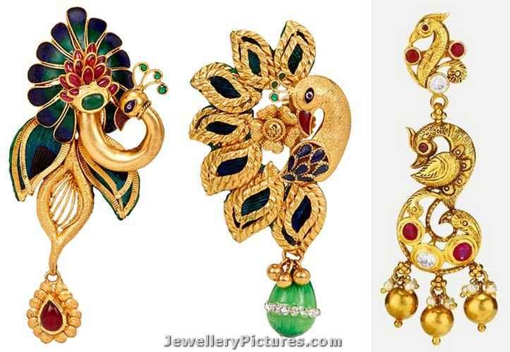 peacock deisgn gold earrings designs catalogue