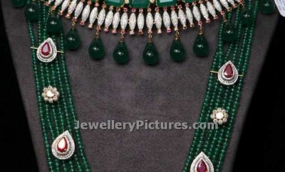 emerald beads mala with emeralds necklace combined with diamonds