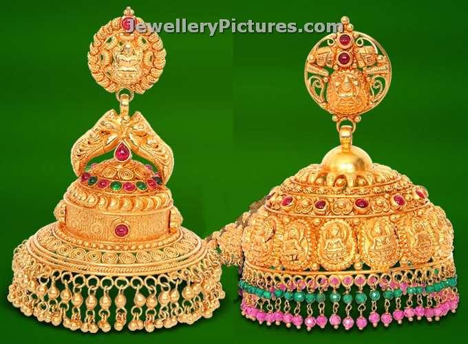 GRT jewellers gold jhumka designs