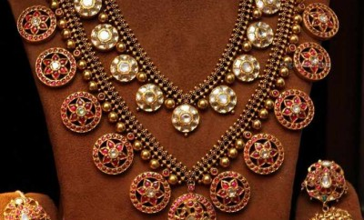 kundan ruby necklace antique haram