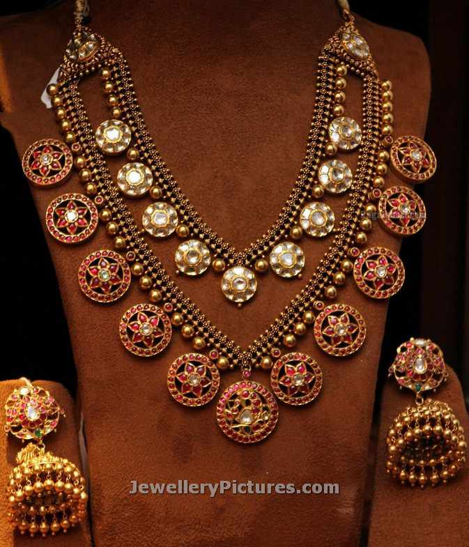 buy antique designs jewellery zoom ruby set matt temple creations rose finish gold necklace designers radhas matte