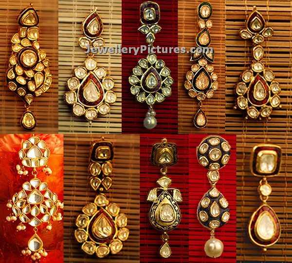 kundan polki earrings from kalyan jewellers
