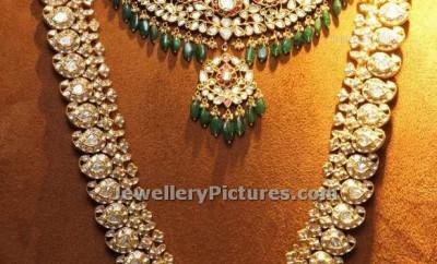 mango polki haram designs with polki necklace bridal jewellery set