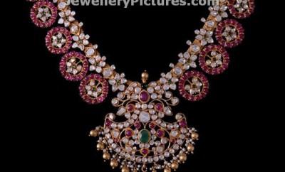 ruby diamond necklace by vasundhara diamonds