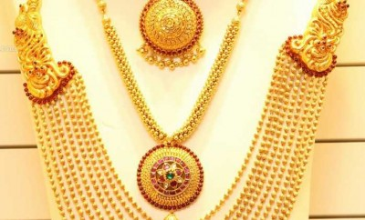 gold rani haar designs pared with necklaces from joyalukkas
