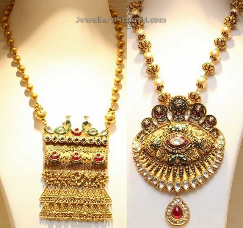 f9ae0a708 Gold Chains Designs With Antique Pendants Jewellery