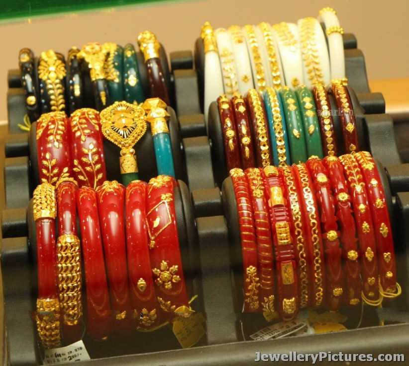 Bengali Bangles Red and White In Gold - Jewellery Designs