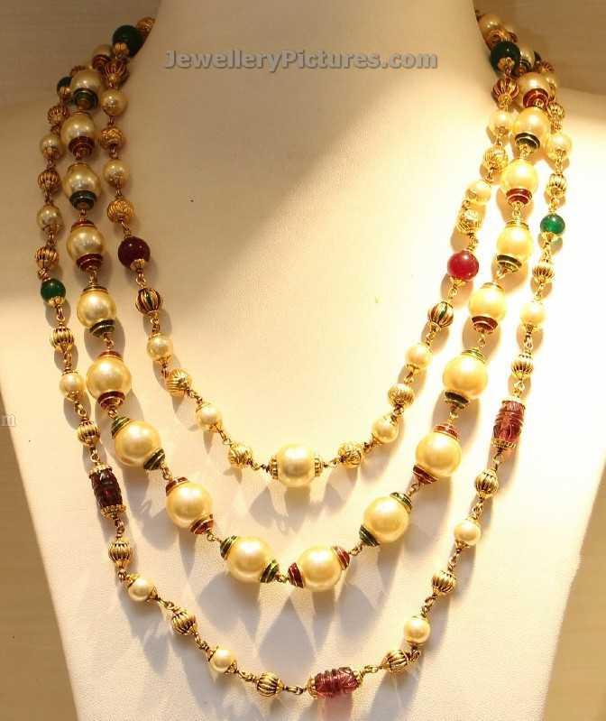 Gold Pearl Chain Designs - Jewellery Designs