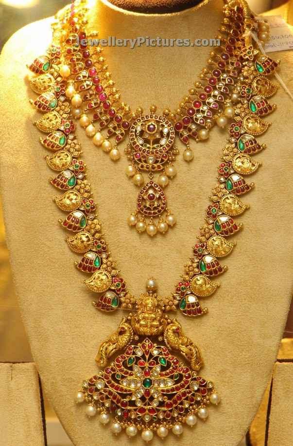gold mango design long chain with rubies peacocks
