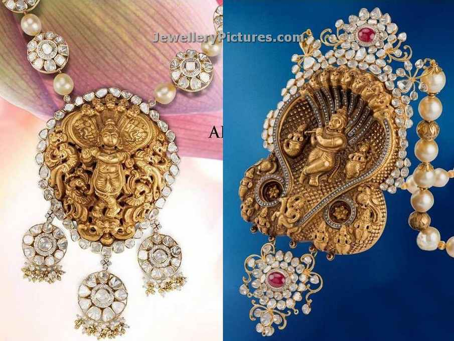 Temple pendant gold designs with diamonds and pearls jewellery designs nakshi work temple gold pendants mozeypictures Choice Image