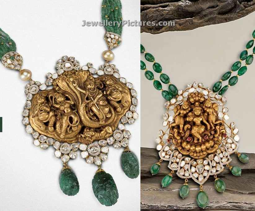 temple pendat set with flat diamonds and emeralds