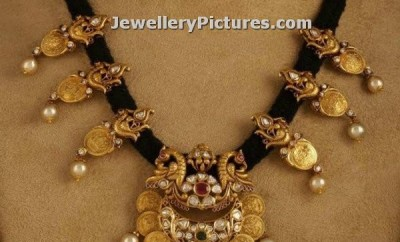 gold black thread jewellery indian necklace