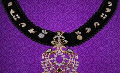 gold black threaded necklace designs