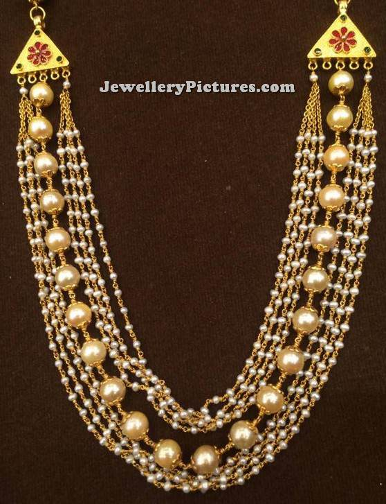 Diamond kasulaperu with pendant - Indian Pearl Necklace Designs Jewellery Designs
