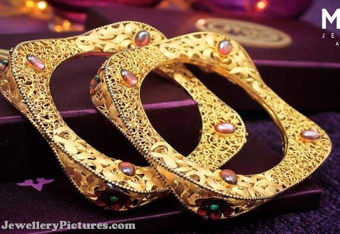 square gold kada bangles