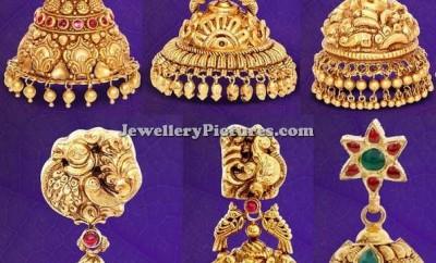 gold temple jhumkas designs