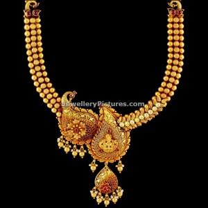 big-mango-pattern-antique-gold-haaram-with-pendant