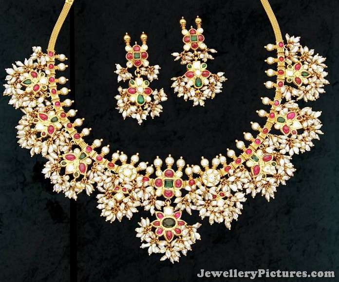 Gold And Pearl Gutta Pusalu Necklace Jewellery Designs