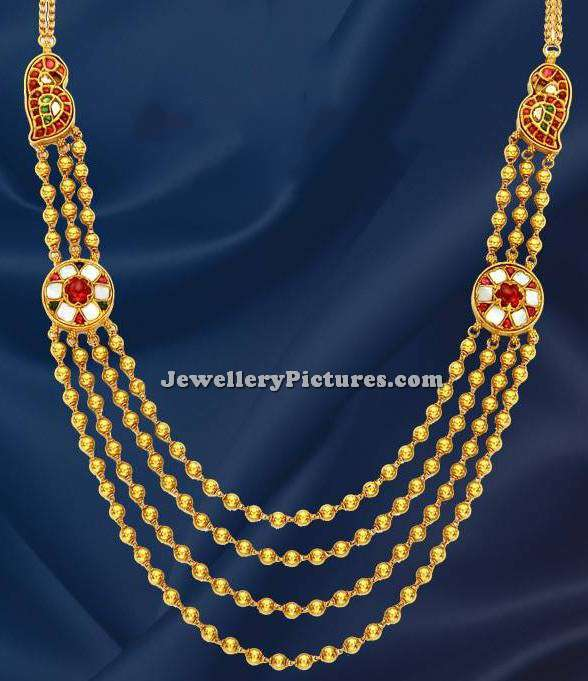 four step gold gundla haram with weight