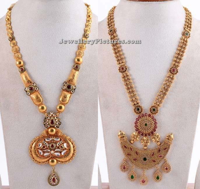latest gold long necklace designs in 50 grams